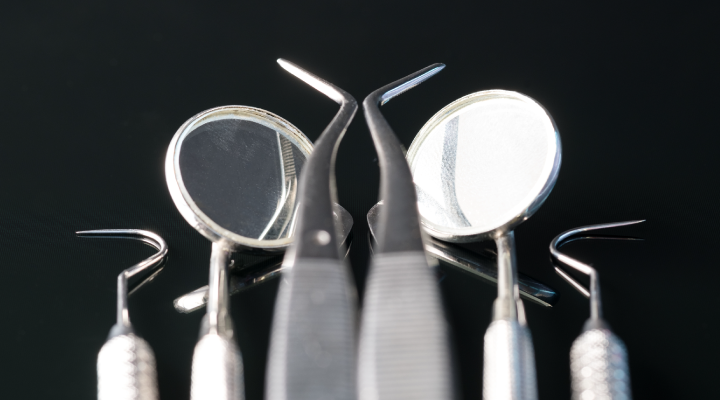 Different dental instruments used at a dental appointment.