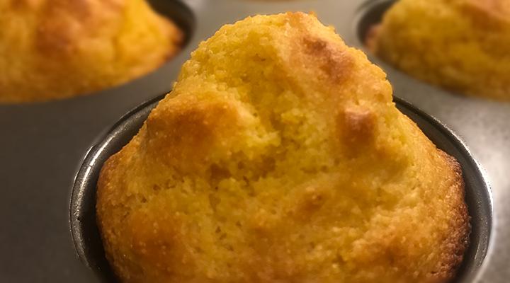 Corn muffins in baking pan.